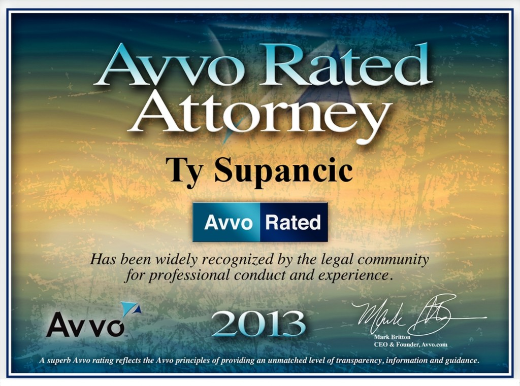 Ty Supancic Esq, Avvo Rated